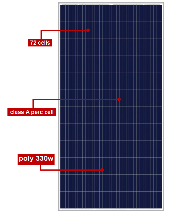 72 cells standard size mono black solar panels 330w 6