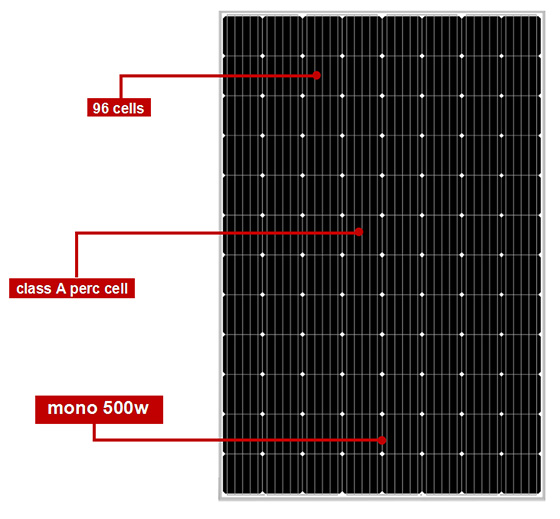 96 cells large size mono black solar panels 500w-2